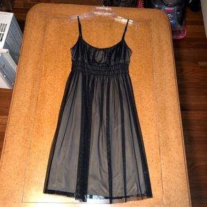 Aqua Black Lace Trim Dress